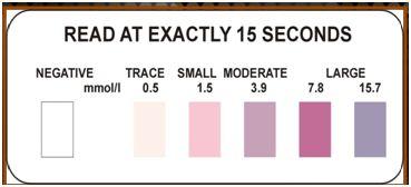 Ketone strips color chart